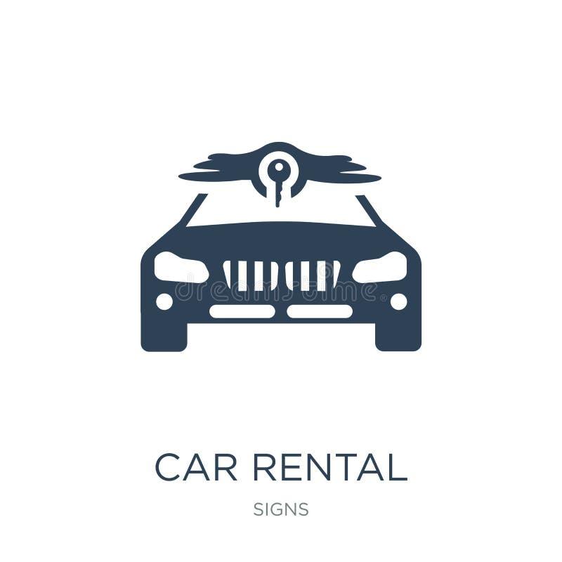 ícone do aluguer de carros no estilo na moda do projeto ícone do aluguer de carros isolado no fundo branco ícone do vetor do alug ilustração stock