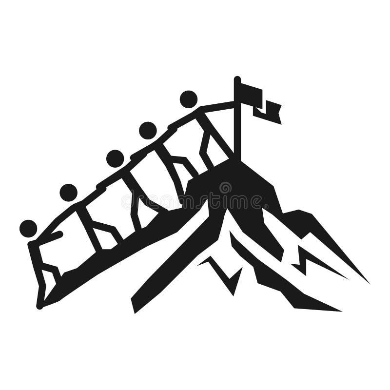 Ícone do alvo da coesão da bandeira da montanha, estilo simples ilustração stock