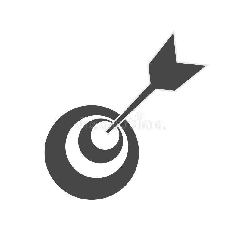 Ícone do alvo Placa de dardo placa do tiro ao arco ícone do vetor do alvo O alvo cinzento, seta, conceito da ideia, aperfeiçoa a  ilustração royalty free