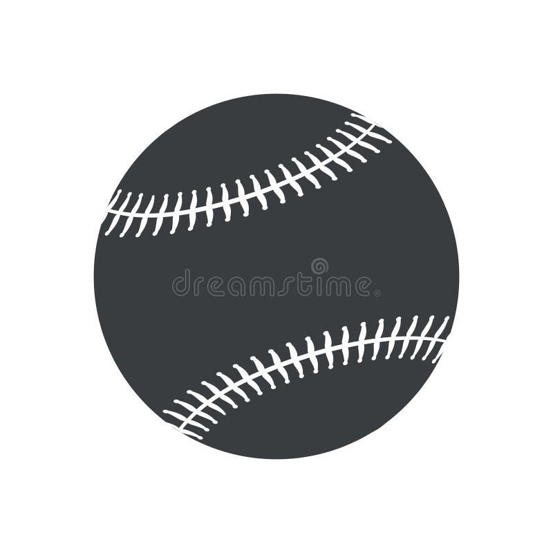 ícone do americano do esporte do basebol da bola da silhueta ilustração do vetor