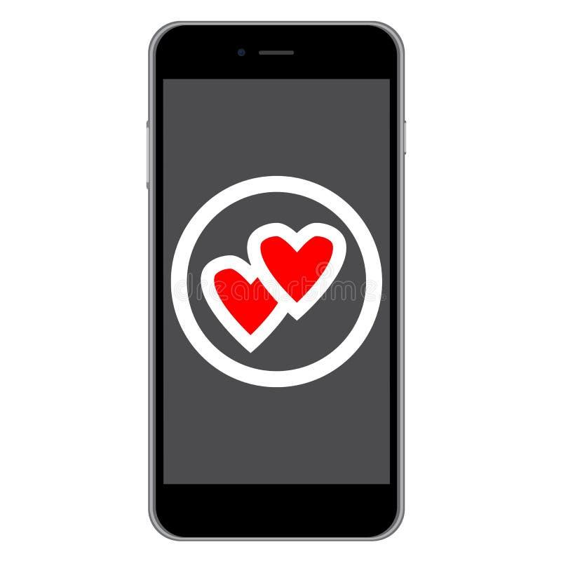 Ícone do amor do telefone celular ilustração royalty free