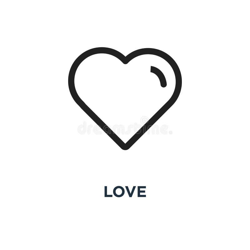 ícone do amor projeto linear do símbolo do conceito do coração, illustrati do vetor ilustração stock