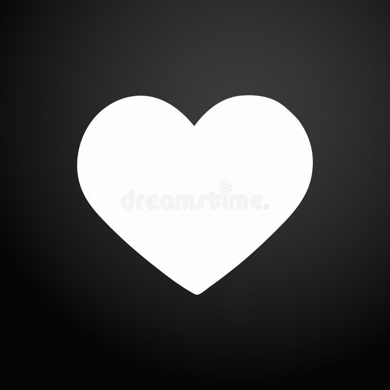 ícone do amor Símbolo do sinal do coração Enegreça o botão quadrado liso Navegação moderna do Web site de UI Vetor ilustração do vetor