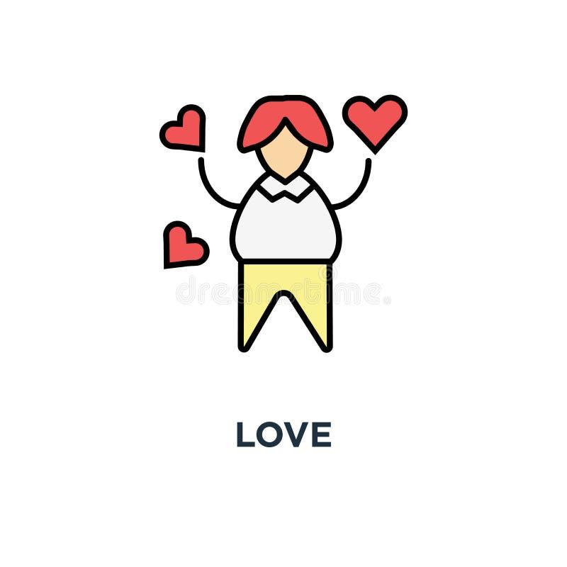 ícone do amor a simpatia, a mulher no amor cercada de cor do voo ou os gostos, esboçam moderno, projeto do símbolo do conceito, e ilustração do vetor