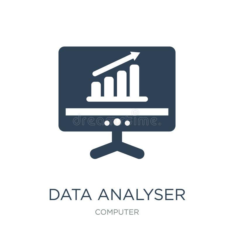 ícone do analisador dos dados no estilo na moda do projeto ícone do analisador dos dados isolado no fundo branco ícone do vetor d ilustração stock
