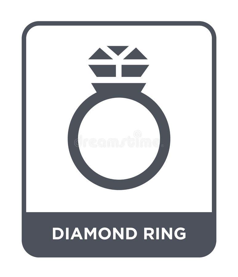 ícone do anel de diamante no estilo na moda do projeto Ícone do anel de diamante isolado no fundo branco ícone do vetor do anel d ilustração stock