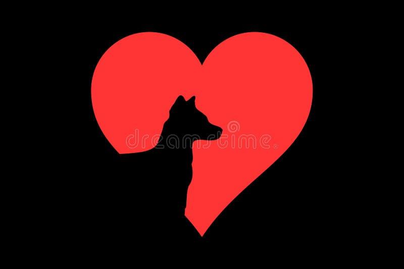 ?cone do animal de animal de estima??o do amor do c?o do cora??o no fundo escuro ilustração do vetor