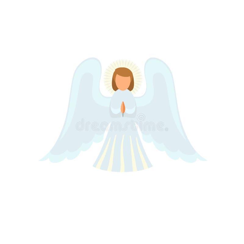 Ícone do anjo do Natal, estilo liso ilustração royalty free