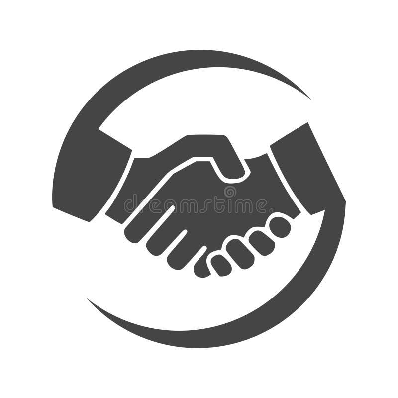 Ícone do aperto de mão, logotipo do ícone dos sócios comerciais ilustração stock
