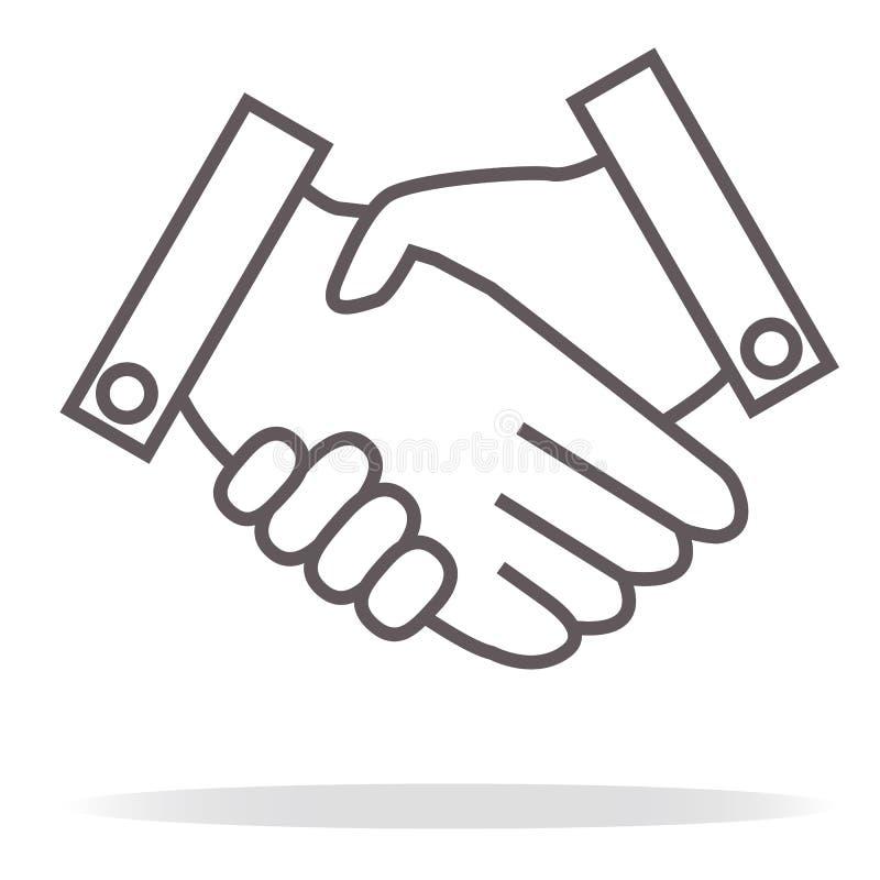 Ícone do aperto de mão do negócio no fundo branco ilustração royalty free