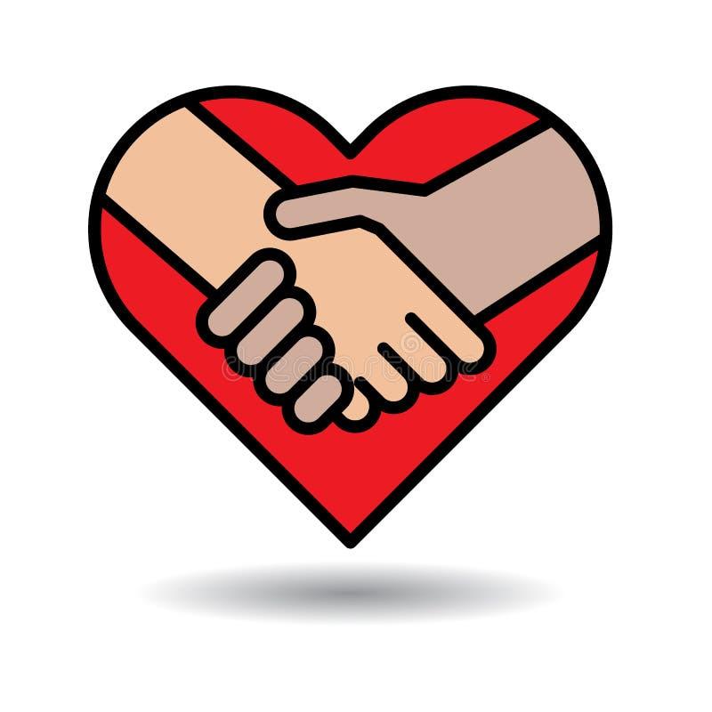 Ícone do aperto de mão no coração ilustração stock