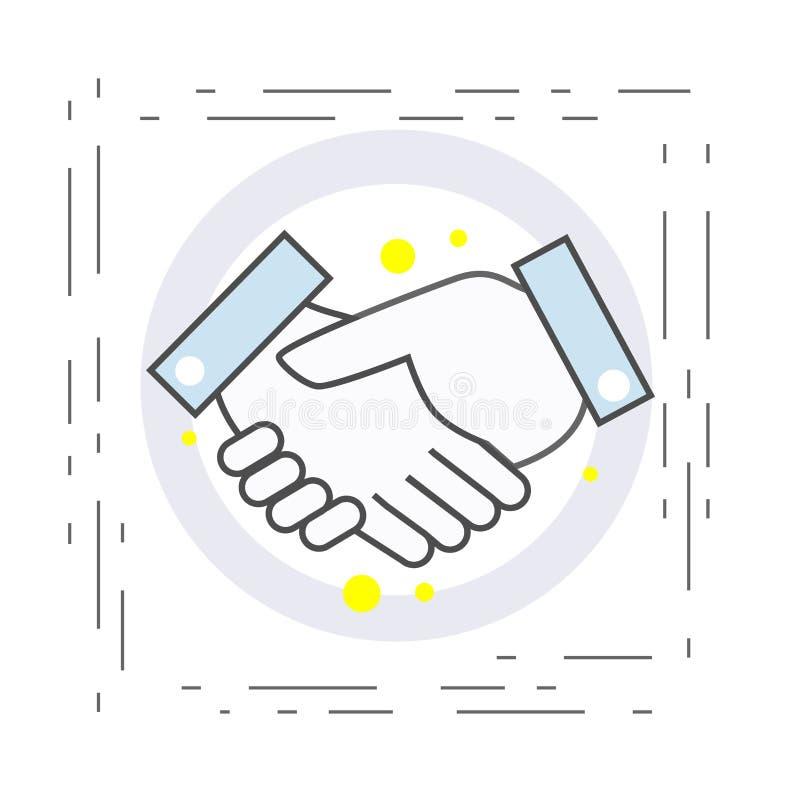 Ícone do aperto de mão Símbolo do acordo e da cooperação no negócio ilustração do vetor