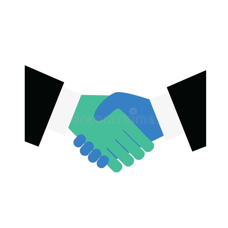 Ícone do aperto de mão Simbolizando um acordo que assina um contrato ou uma transação Agite as mãos, acordo, bom negócio ilustração do vetor