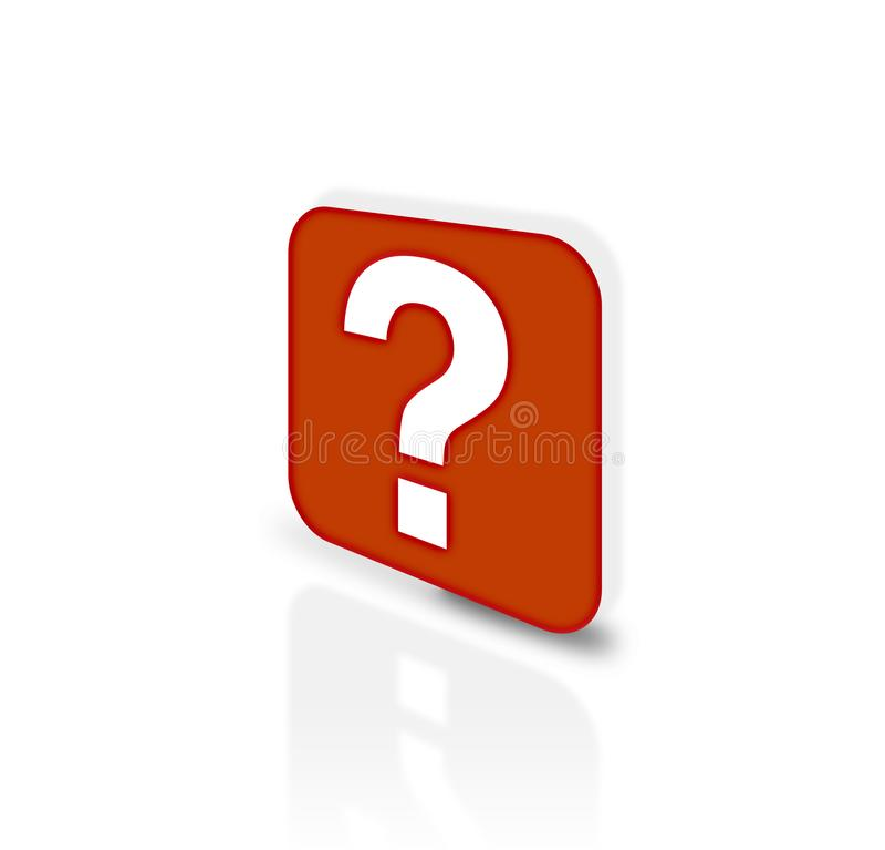 Ícone do apoio com ponto de interrogação O apoio ao cliente vermelho assina sobre branco Serviço de atenção a o cliente ilustração do vetor