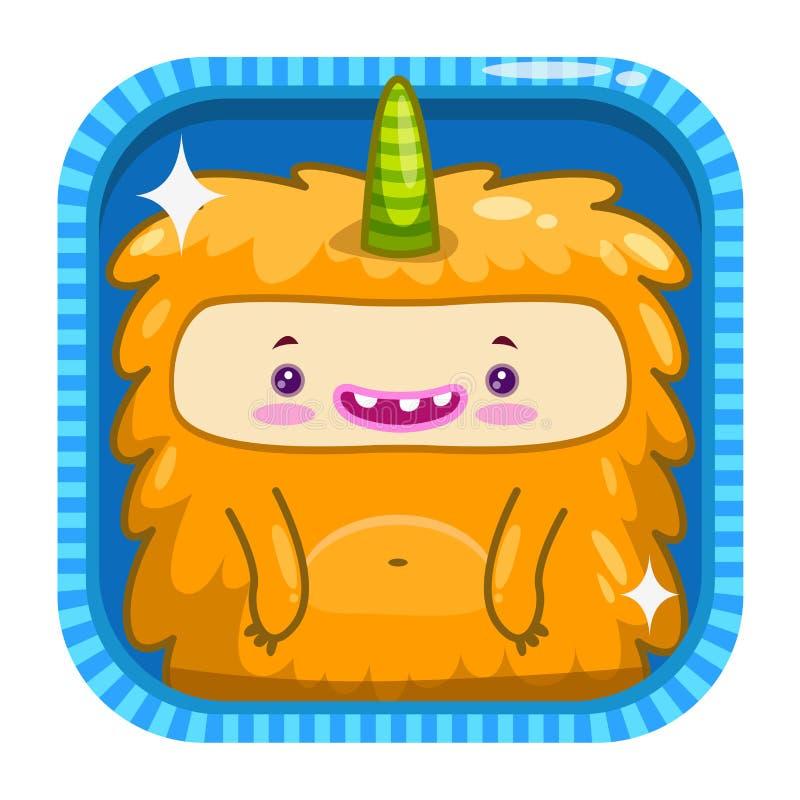 Ícone do App com o monstro macio do amarelo engraçado dos desenhos animados ilustração royalty free
