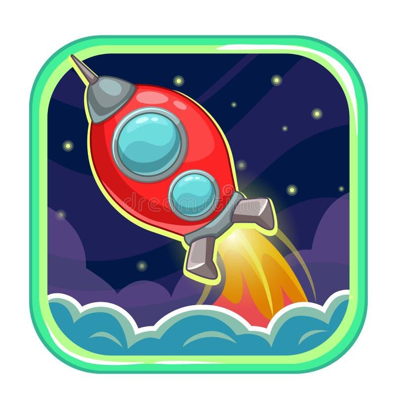 Ícone do App com o navio do foguete do voo ilustração stock