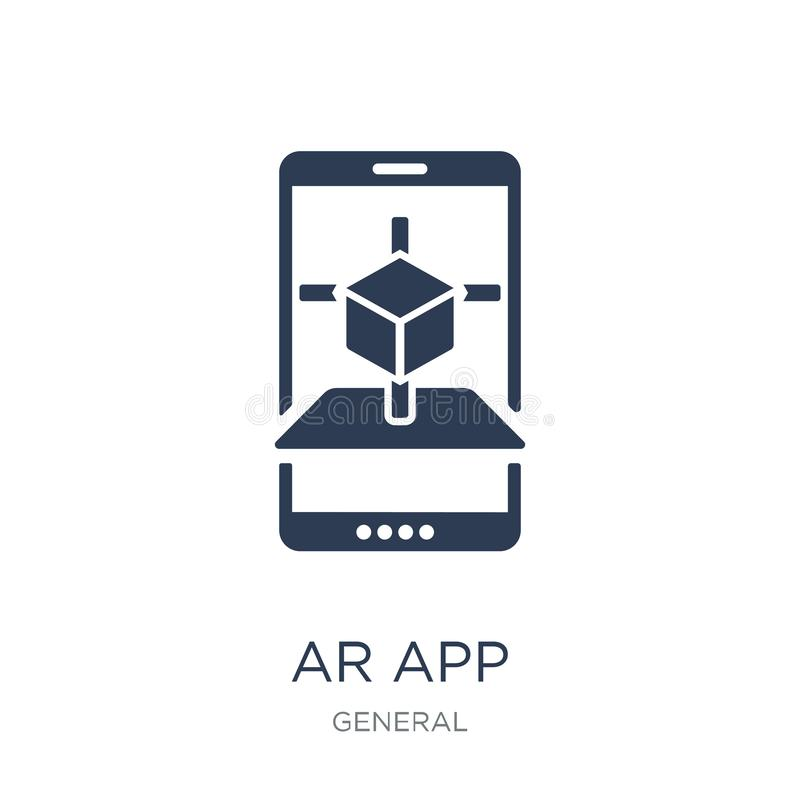 ícone do app da AR Ícone liso na moda do app da AR do vetor no fundo branco ilustração stock