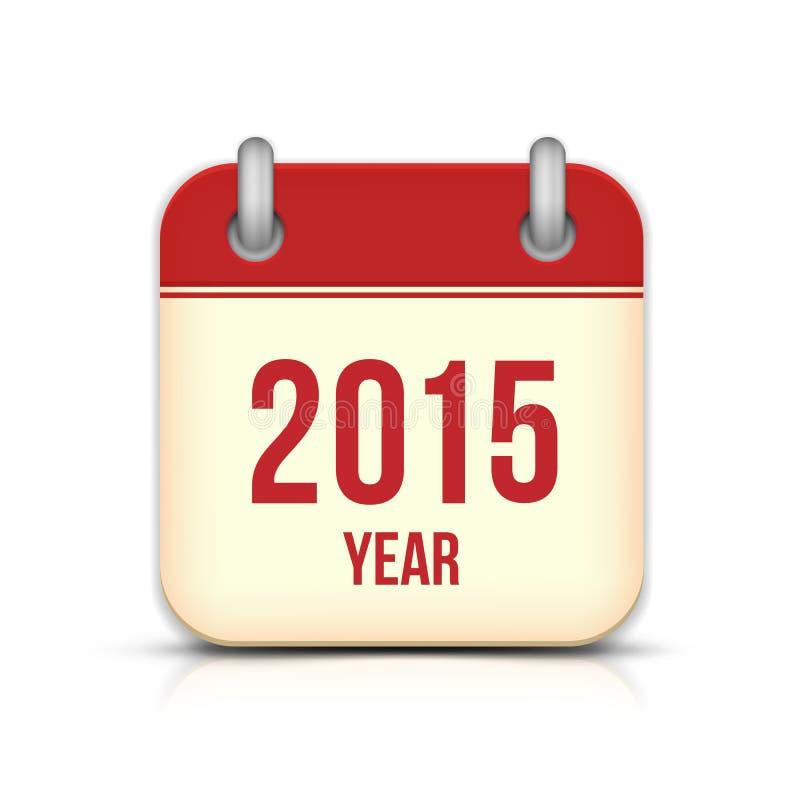 Ícone do App do calendário de um vetor de 2015 anos com reflexão ilustração do vetor