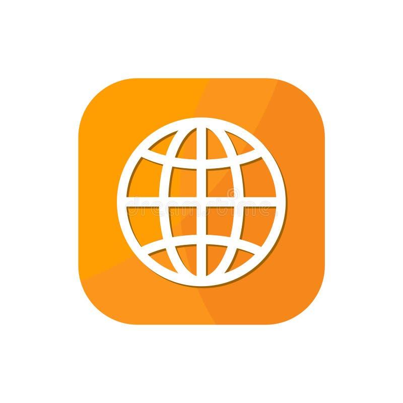 Ícone do App do navegador do globo do mundo ilustração stock