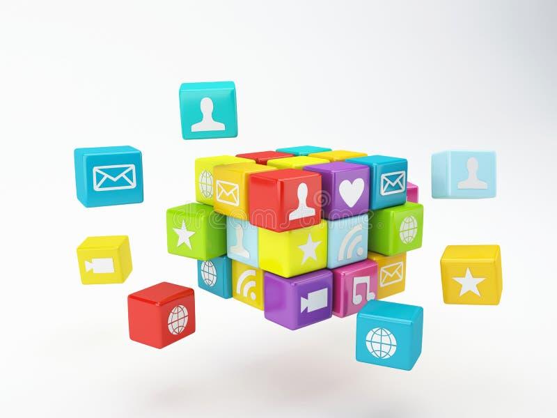 Ícone do app do telefone celular Conceito de software ilustração stock