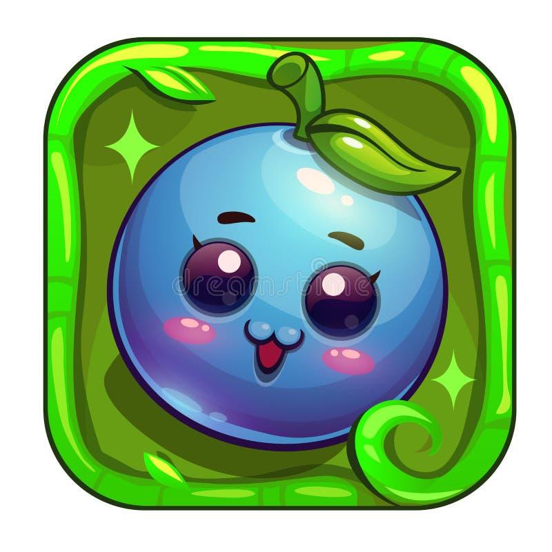 Ícone do app dos desenhos animados com caráter engraçado do mirtilo ilustração royalty free