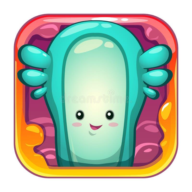 Ícone do app dos desenhos animados com caráter estrangeiro viscoso engraçado ilustração do vetor