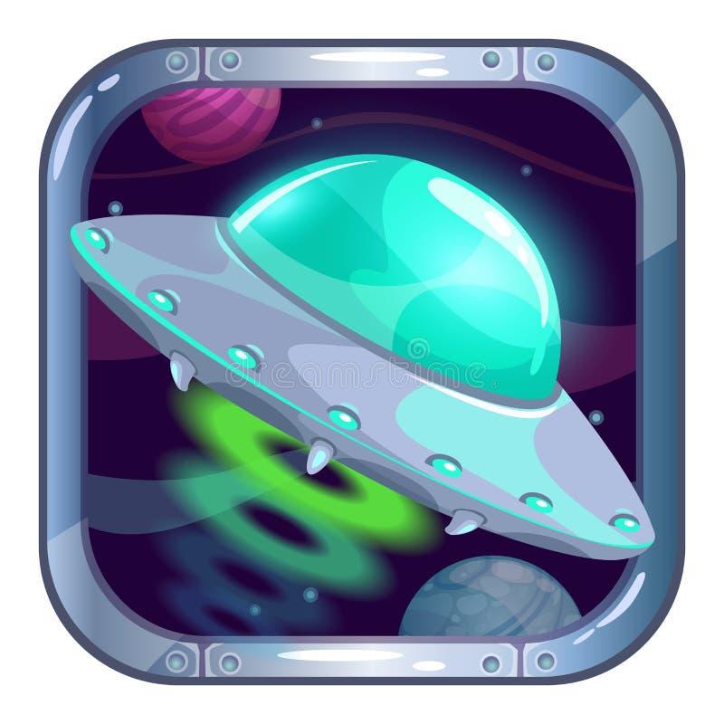 Ícone do app dos desenhos animados com voo do navio do UFO ilustração royalty free
