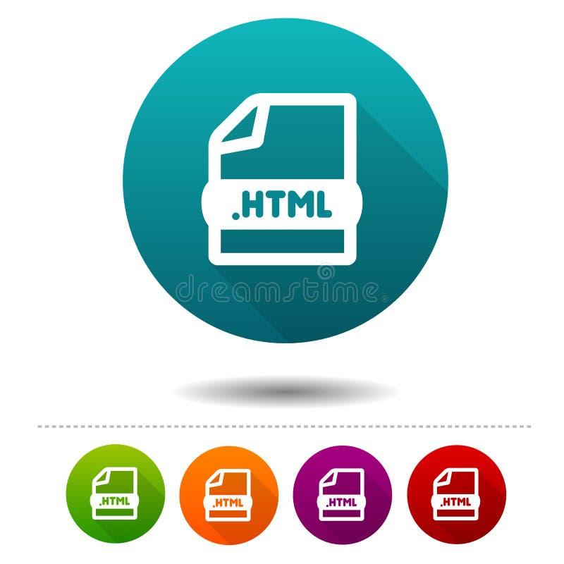 ícone do arquivo de original Sinal do símbolo do HTML da transferência Botão da Web ilustração stock