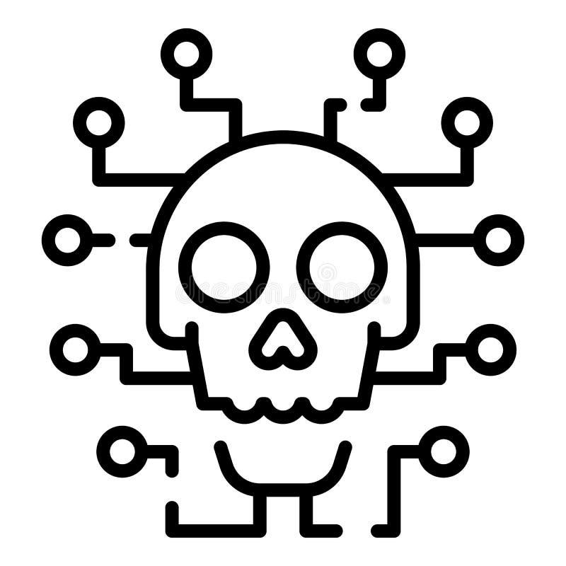 Ícone do ataque do hacker do Cyber, estilo do esboço ilustração do vetor
