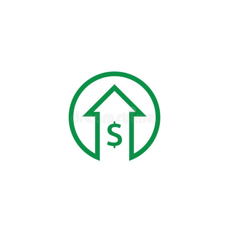 ícone do aumento do dólar Símbolo do dinheiro com a seta que estica a aumentação acima Ícone da venda do custo do negócio Ilustra ilustração stock