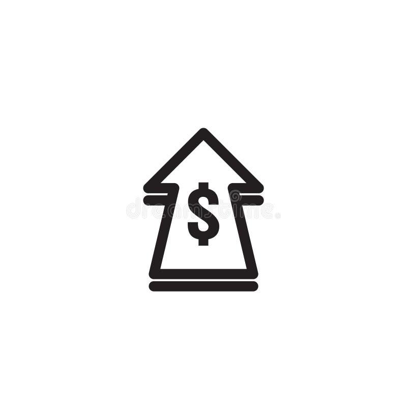 ícone do aumento da taxa de dólar Símbolo do dinheiro com esticão da seta acima preços em subida Ícone da venda do custo do negóc ilustração do vetor