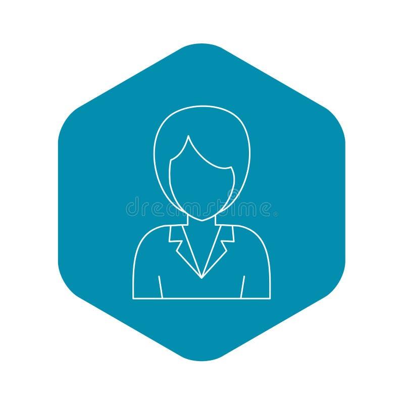 Ícone do avatar da mulher de negócios, estilo do esboço ilustração do vetor