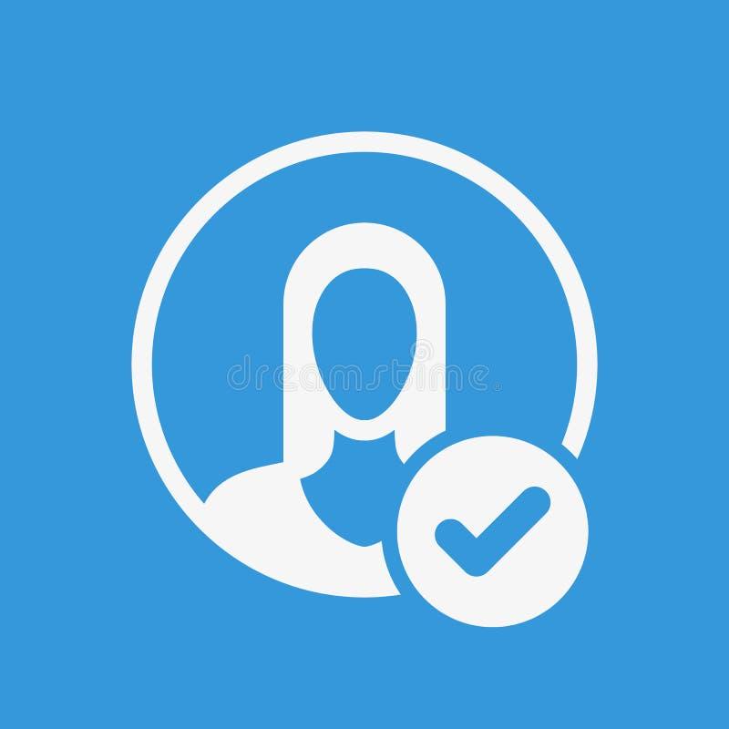 Ícone do Avatar, ícone dos povos com sinal da verificação O ícone do Avatar e aprovado, confirma, feito, tiquetaque, símbolo term ilustração do vetor