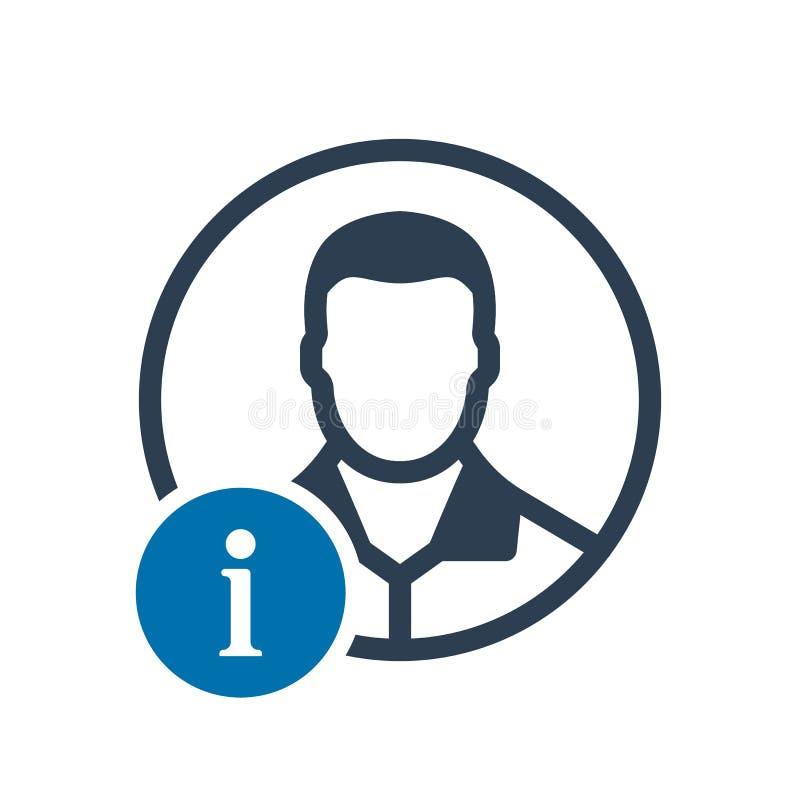 Ícone do Avatar, ícone social com sinal da informação Ícone do Avatar e aproximadamente, FAQ, ajuda, símbolo da sugestão ilustração royalty free