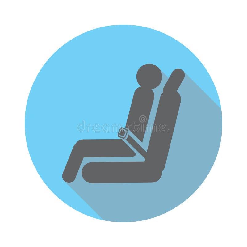 Ícone do avião do assento do passageiro Os elementos do aeroporto horizontalmente no azul coloriram o ícone Ícone superior do pro ilustração stock
