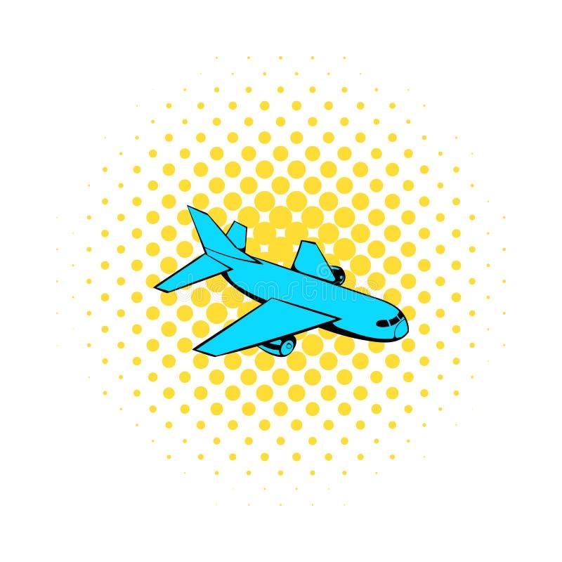 Ícone do avião do passageiro, estilo da banda desenhada ilustração stock