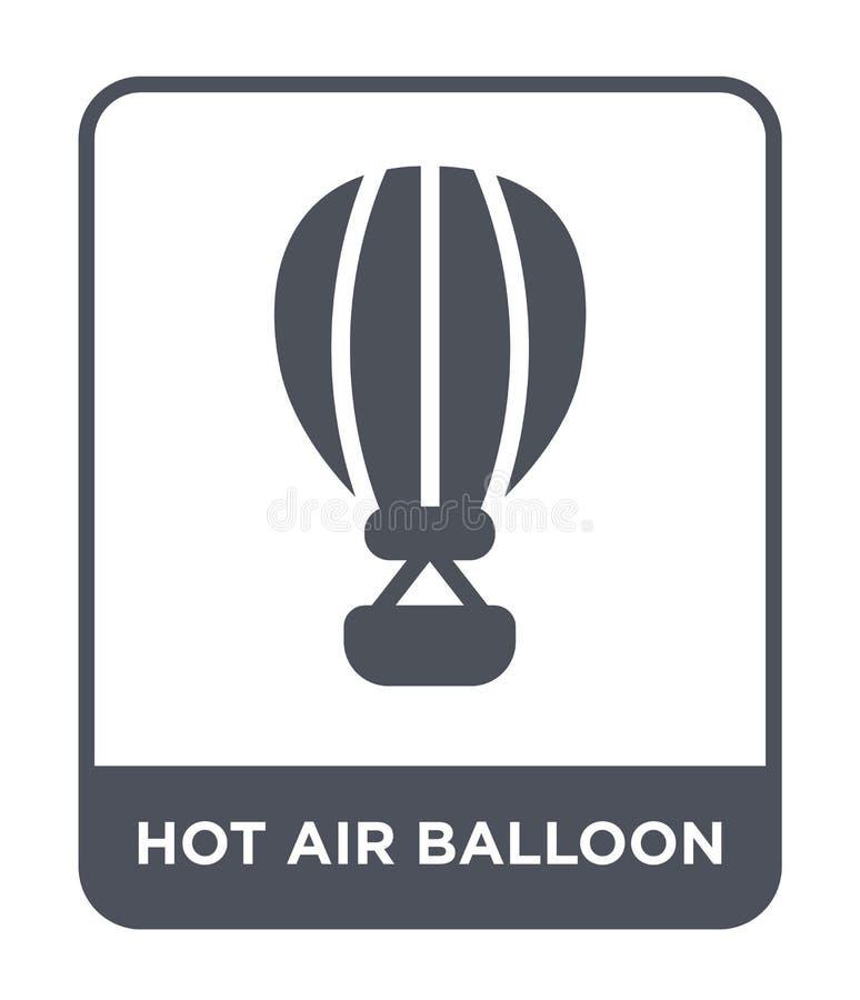 ícone do balão de ar quente no estilo na moda do projeto Ícone do balão de ar quente isolado no fundo branco ícone do vetor do ba ilustração stock