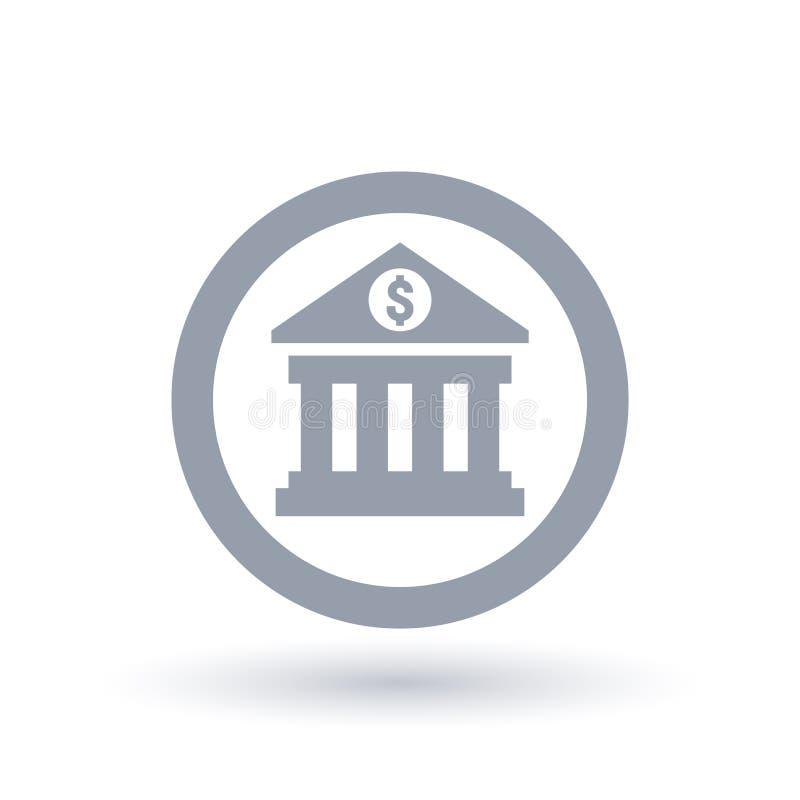Ícone do banco - símbolo do dólar da construção de operação bancária ilustração stock