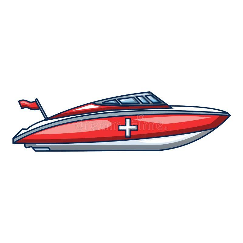 Ícone do barco da ambulância, estilo dos desenhos animados ilustração do vetor