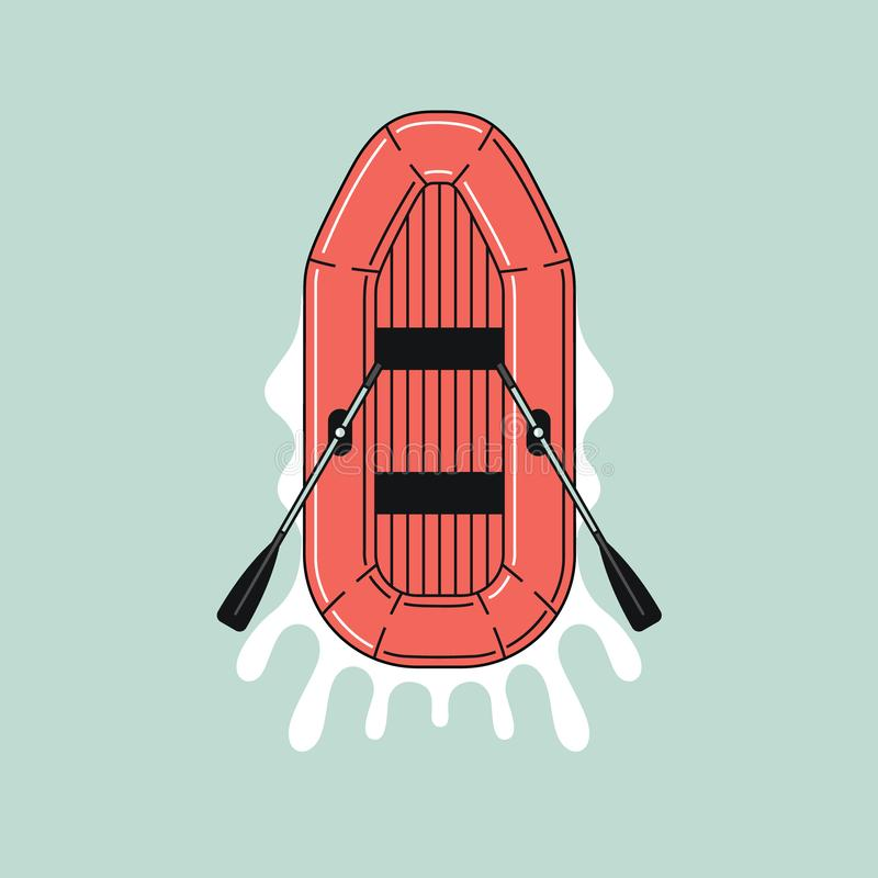 Ícone do barco de borracha na água Projeto liso da cor ilustração do esboço imagens de stock royalty free