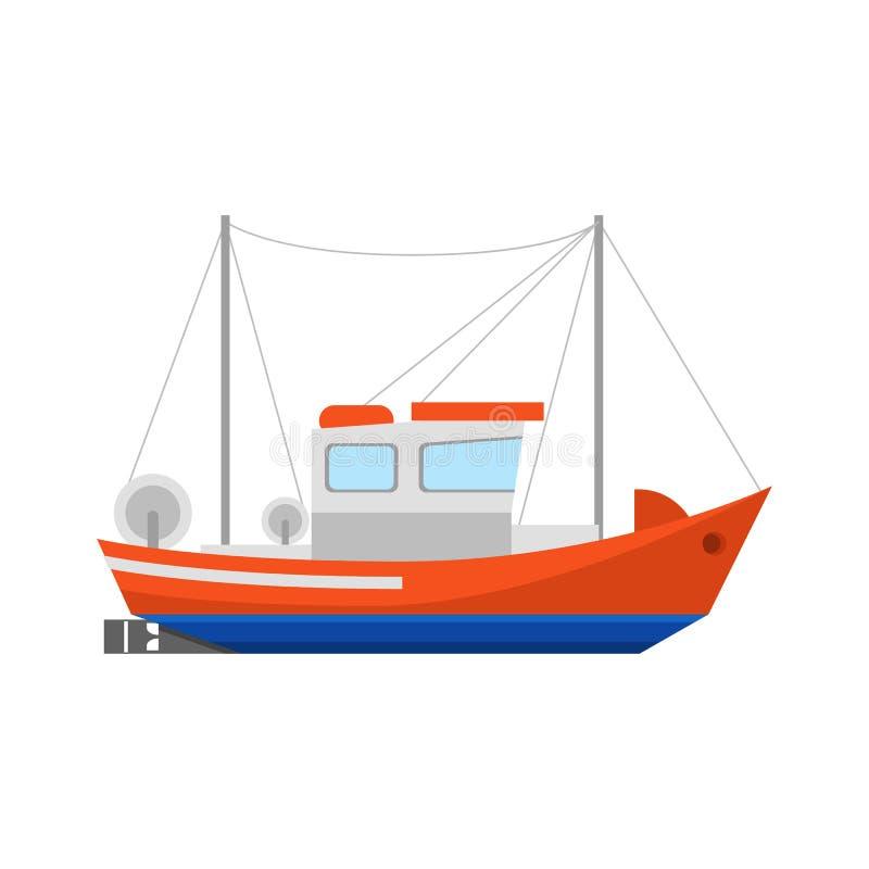 Ícone do barco de pesca dos desenhos animados em um branco Vetor ilustração do vetor