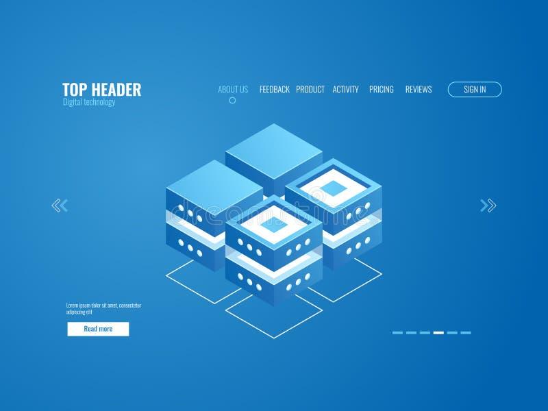 Ícone do base de dados, processo de dados e conceito do armazenamento da nuvem, elemento do sumário da tecnologia digital isométr ilustração stock