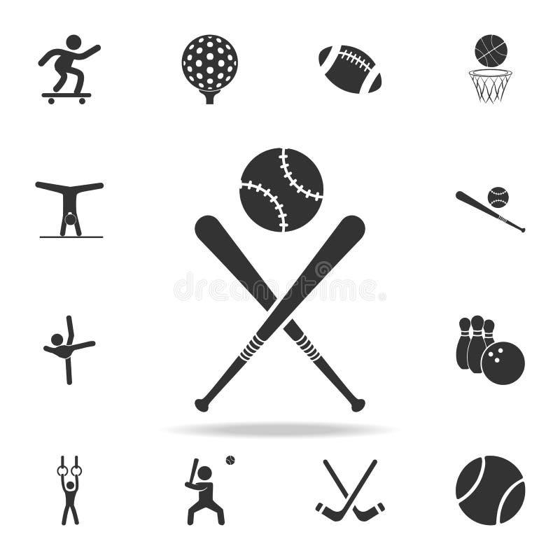 Ícone do bastão de beisebol e da bola Grupo detalhado de ícones dos atletas e dos acessórios Projeto gráfico da qualidade superio ilustração stock