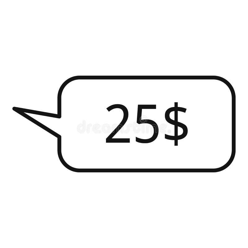 ícone do bate-papo do preço de dólar 25, estilo do esboço ilustração do vetor