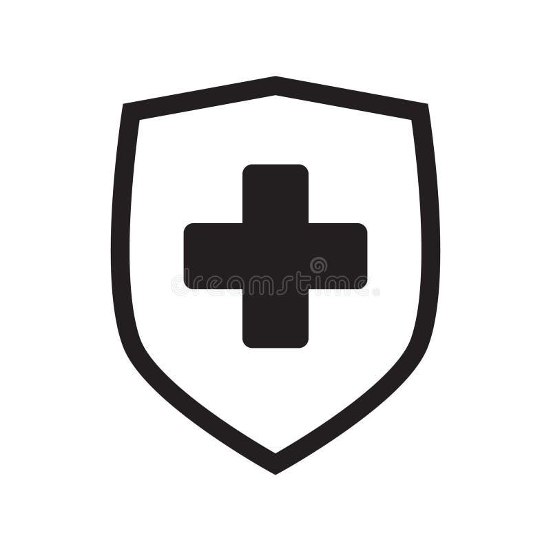 Ícone do bate-papo, ícone do sistema do iconImmune da mensagem Cruz médica no protetor Vetor ilustração stock