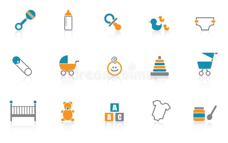 Ícone do bebê ajustado - azul ilustração stock