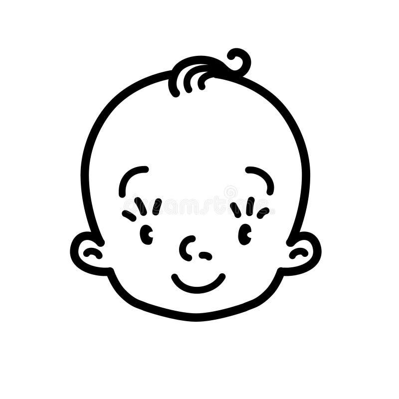 Ícone do bebê Cara do menino ou da menina pequena A lápis desenho ilustração do vetor