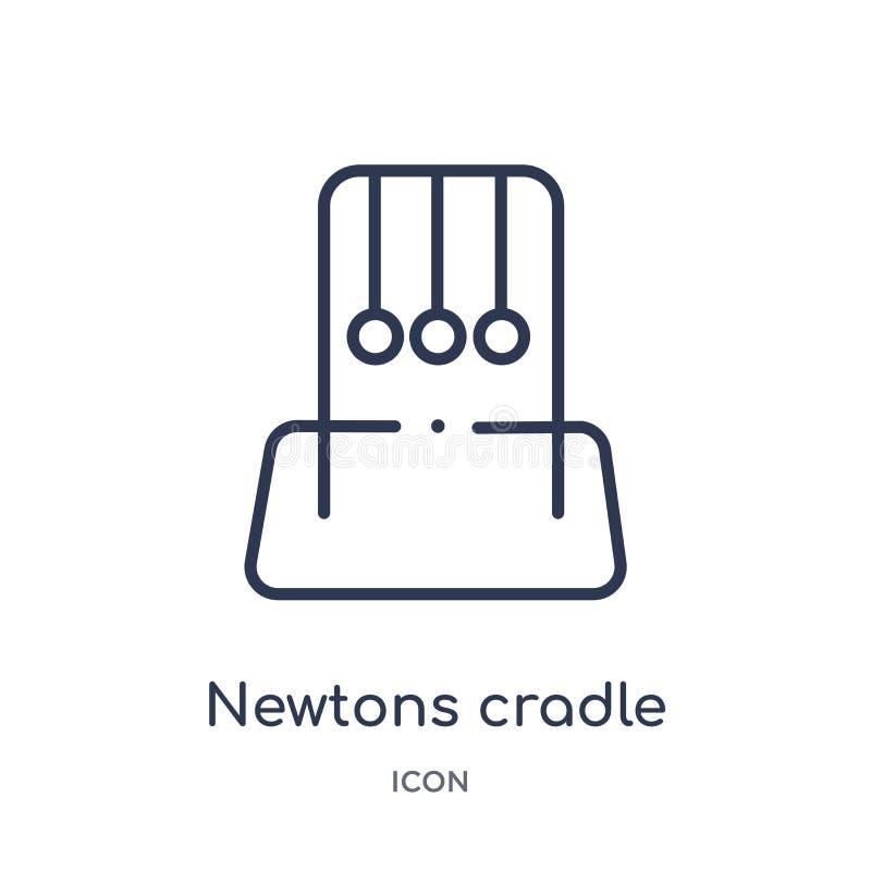 Ícone do berço dos newtons da coleção do esboço do museu Linha fina ícone do berço dos newtons isolado no fundo branco ilustração stock