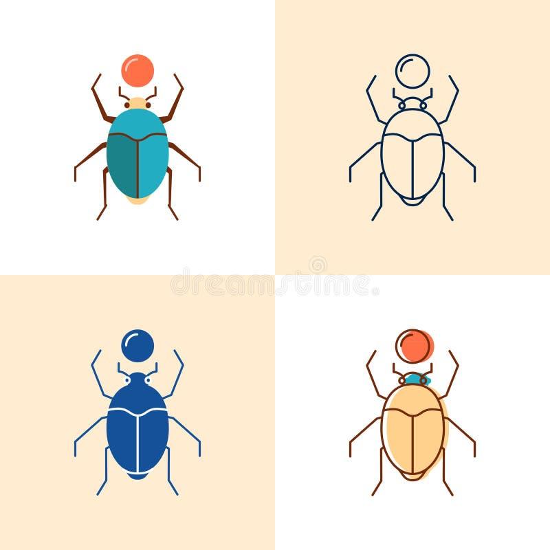 Ícone do besouro do escaravelho ajustado no plano e na linha estilo ilustração royalty free