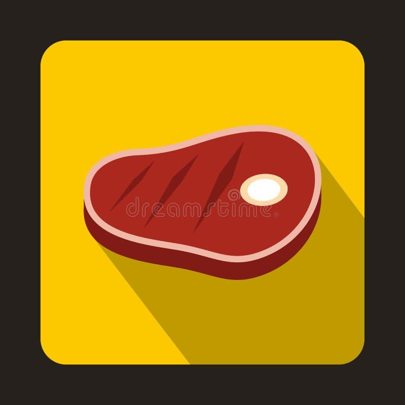 Ícone do bife da carne no estilo liso ilustração stock